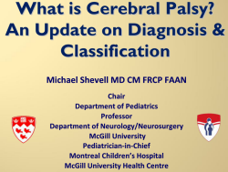 What is Cerebral Palsy? An Update on Diagnosis & Classification